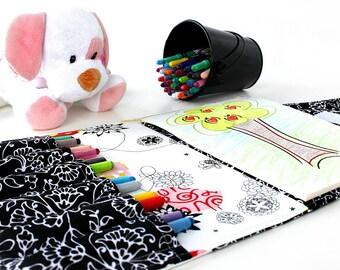 Birds Crayon Artist Case, Ready To Ship, Crayon organizer, Coloring wallet, Crayon and paper holder, Crayon bag for kids