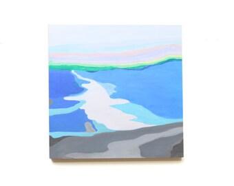 "16"" x 16"" Original Ocean Landscape on Wood Panel. Modern Abstract Fine Art. Blue Green Acrylic Paint. Interior Art."