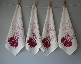 Linen Napkins - Organic Linen - Beet  Design - Set of Four Cloth Napkins - Hostess Gift