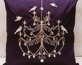 crystal bird chandelier  vintage pillow handmade ornate paris home decor dark plum pillow antique decorative pillow gift french decor retro