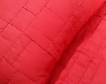 cotton red geometric square straight lined tone on tone queen size quilted bedspread with 2 pillowsham