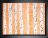 "Abstract painting Large orange  Landscape art on canvas by Artist JMJartstudio "" 18 X 24 "" birch trees"