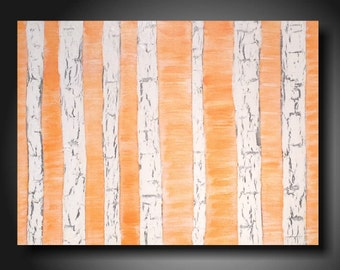 "Abstract painting Large orange  Landscape art on canvas by Artist JMJartstudio "" 18 X 24 "" birch trees"