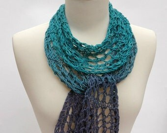 Cotton Scarf- Hand Knit-/ Lavender, Turquoise