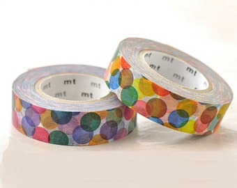 Discontinued Japanese Washi Masking Tape SINGLE / Colorful Spots Red or Yellow (15m Long, 50% more)
