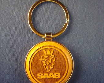 Saab Wood Key Chain - Laser Engraved .  Great Birthday Gift, New Car Gift or Graduation Gift for Him or Her, Stocking Stuffer