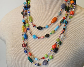"""Beaded NECKLACE - Long 23"""" (46"""") Multiple Primary Colors Blue Green Red Aqua Orange Seed Bead Glass Bead - Goes with Everything Necklace 35"""
