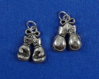 Boxing Gloves Charm - Silver Plated Boxing Gloves Charm for Necklace or Bracelet