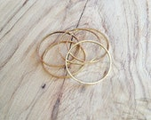 Raw Brass Stacking Hammered Ring Bands or Midi Bands