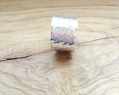 Adjustable Aluminum Silver Thick Hammered Ring Band