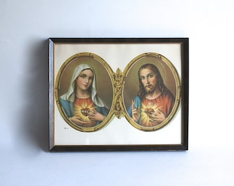 1940's Religious Framed Lithograph Mary Jesus Sacred Heart Double Oval Fleur De Lis Italy