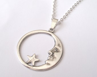 Silver Moon Necklace, Moon and Star Necklace, Silver Star, Man in the Moon Necklace