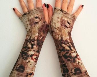 Fingerless long brown  gloves   stretch  cotton