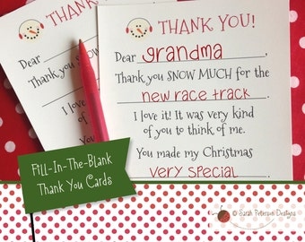 Instant Download Printable - Winter Fill-In-The-Blank Thank You Cards