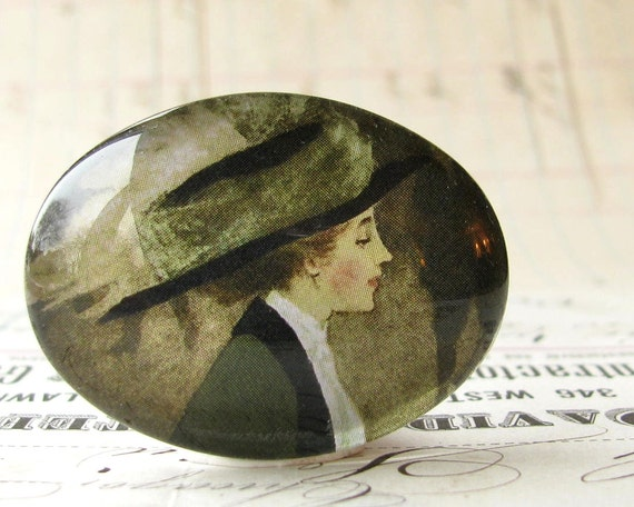 Well dressed woman with a hat, 40x30 30x40 40x30mm 30x40mm 40 glass oval cabochon, olive green, black, horizontal wide sideways orientation