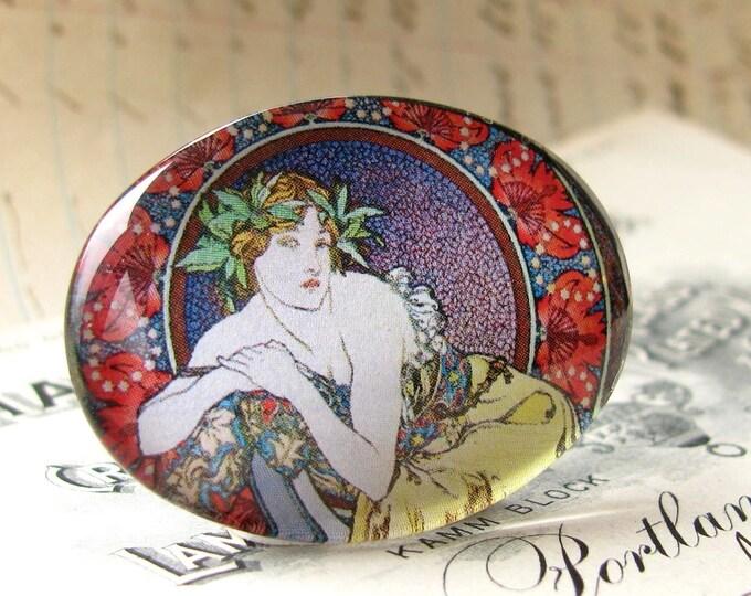 Art Nouveau handmade glass cabochon, green leaf, red border, purple lavender, Mucha woman, 40x30 30x40 40x30mm 30x40mm oval, horizontal