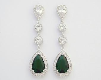 Emerald Green Bridal Earrings Long Drop Wedding Earrings Cubic Zirconia Green Crystal Bridesmaid Earrings Bridal Jewelry, Esmeralda