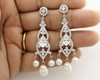 Bridal Chandelier Earrings Wedding Jewelry Crystal Pearl Bridal Earrings Cubic Zirconia Earrings Bridal Jewelry, Laura