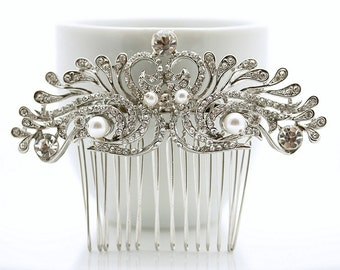 Wedding Hair Comb Bridal Hair Accessories, Clear Rhinestone Crystal Comb, Hair Jewelry for Bride, Vintage Style Hair Comb
