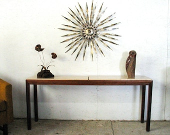 Mid Century Console Table Sofa Table Entry Table Travertine Walnut Console Harvey Probber Bertha Schaefer style