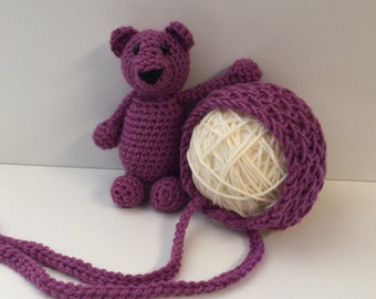 Newborn Baby Bonnet and Bear Set Photography Prop Pick your color