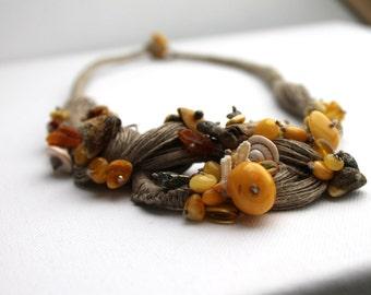Unique Bib Necklace Artisan Jewelry Bohemian Neckpiece Statement Fashion fiber art Sculptural Bib Amber Collar Linen Anthropologie Inspired