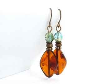 Amber Brown Earrings - Aqua Blue - Wire-wrapped Dangles - Picasso Czech Glass Diamond Shaped - Bohemian Earrings