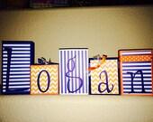 Custom Order for Erika - LOGAN's orange/blue BLOCKS