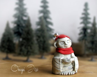 Handmade Miniature Onegai Jizo Statue - Wish Granting Jizo with Crystal - Guardian of Women, Children and Travelers by Bewilder and Pine