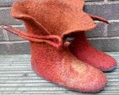 Felted Slipper Boots - Sunrise and Sunset - women's UK 6