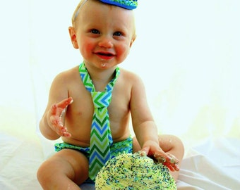 Cake Smash Birthday Outfit (Tie, Hat and Diaper Cover)