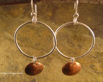 Sterling silver hoops with copper earrings --- Free shipping