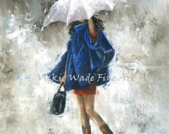Rain Girl in Blue Art Print lady, pretty woman, rain, dark blue, navy, white umbrella, fashion girl, paintings, wall decor, Vickie Wade art