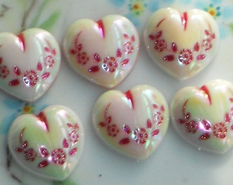 Vintage Hearts Intaglio Flower 18mm Heart valentines Day Cabochons AB Pink. #1487