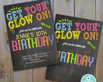 Neon Birthday Printable Invitation / Instant Download / Get Your Glow On /Blank JPEG / INVITATION TEMPLATE / 3512