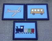 3 pc set airplane, train and bus canvas art for boys room or nursery