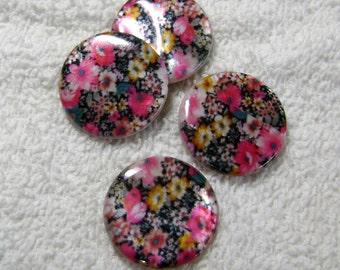 Shell Beads - Flat Round Hot Pink/Multi-Colored  - Shell Disc Beads - (25mm x 4mm) - (4 Pcs) - B-1297