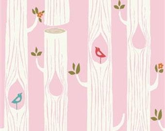 Birch Circa52 - Tree Stripes pink- Organic Cotton Fabric  low shipping