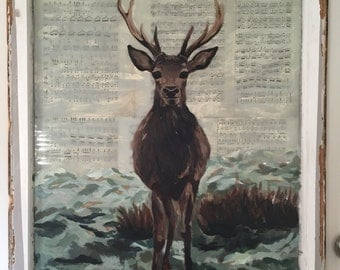 Doe Re Me: Deer Painting on Vintage Window