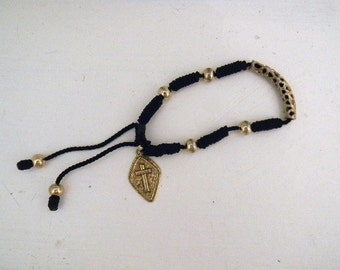 Jewelry. Vintage. Thread Bracelet with Gold Metal Beads and Blessed Cross // Large wrist 9 in