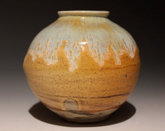 Ceramic Vase Sphere Vessel Jar Ikebana Pot with Finger Prints, Marbled Clay Wabi Sabi Light Blue Drips Over Yellow Glaze