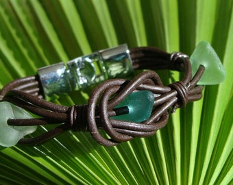 Primitive Sea Glass and Leather Bracelet