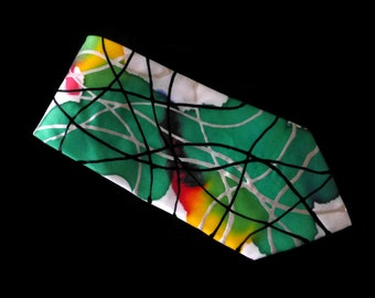 Green SCRIBBLE Hand Painted Silk Tie by Julie Riisnaes