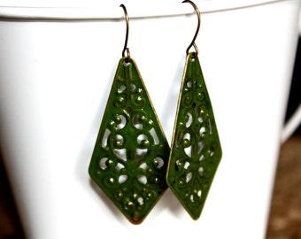 Moss Green Filigree Earrings, Handpainted Earrings, Bronze Filigree Earrings,Earrings Boho Earrings Rustic Jewelry Dangle Earrings
