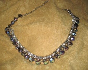 Rhinestone Choker with Clear and Aurora Borealis Stones 50s Vintage