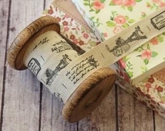 3m quaint tour EIFFEL PARIS theme woven Cotton Blended Ribbon fabric label