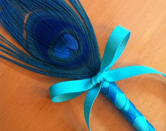 Mermaid Peacock Feather Pen - Green Blue Turquoise Teal Glitter Ribbon - Refillable Ink Pen - Wedding Guest Book Pen