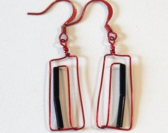 Red and Black Wire Earrings