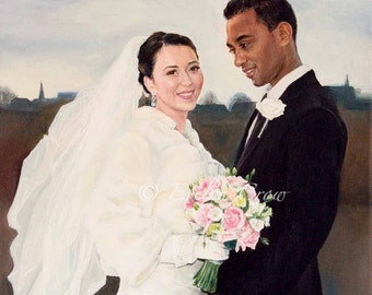 "Oil Painting - Custom Portraits from Your Photos (Half Body) - Wedding Portrait  18"" x 16"" or 16"" x 16"""