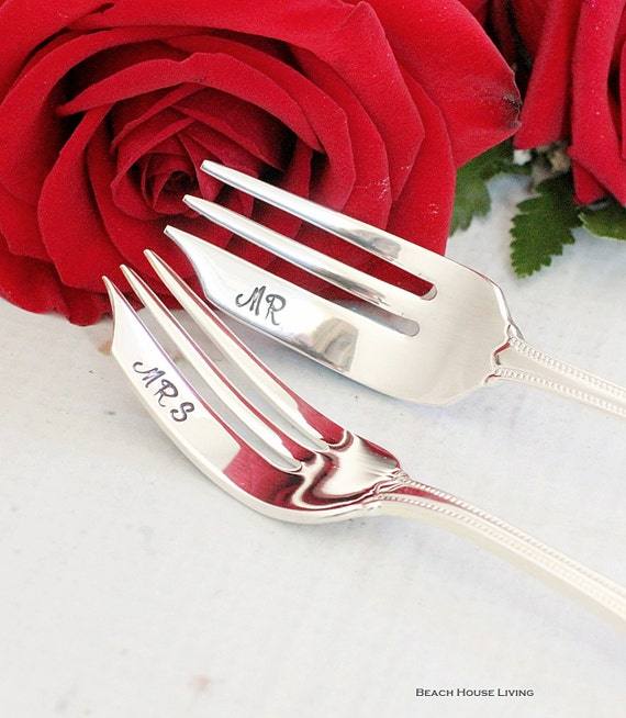 Wedding Cake Forks: Hand Stamped Mr. and Mrs. Forks Wedding Silverware cake topper